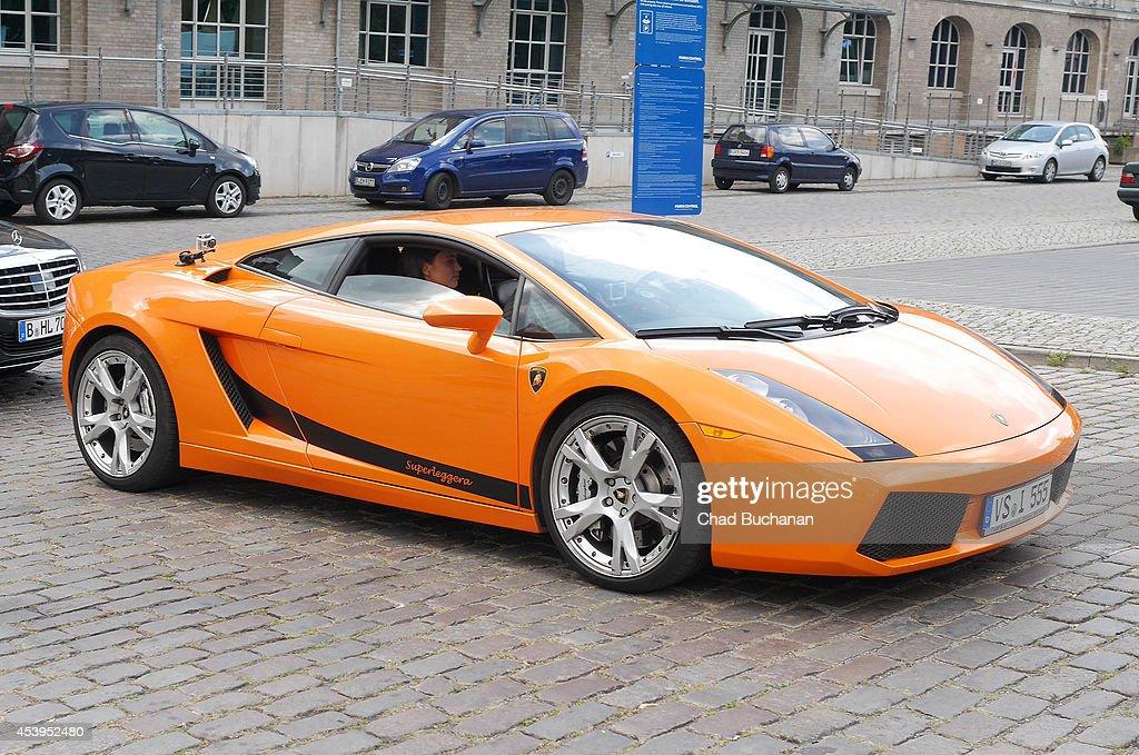 Irina Shayk takes a tour of Berlin in a Lamborghini on August 22 2014 in Berlin Germany