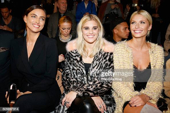 Irina Shayk Tigerlily Taylor and Lena Gercke attend the Marc Cain show during the MercedesBenz Fashion Week Berlin Autumn/Winter 2016 at Brandenburg...