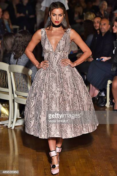Irina Shayk walks the runway at the GILES Ready to Wear show during London Fashion Week Spring/Summer 2016/17 on September 21 2015 in London England