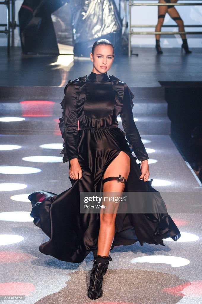 Irina Shayk walks the runway at the Philipp Plein fashion show during New York Fashion Week: The Shows at Hammerstein Ballroom on September 9, 2017 in New York City.
