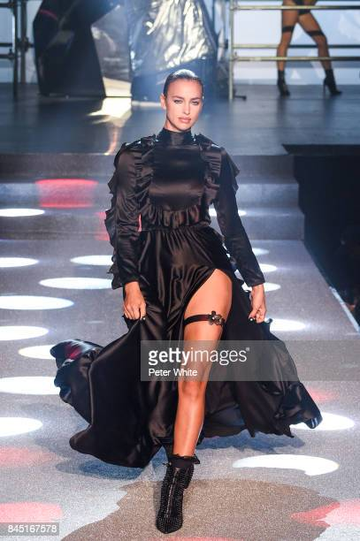 Irina Shayk walks the runway at the Philipp Plein fashion show during New York Fashion Week The Shows at Hammerstein Ballroom on September 9 2017 in...