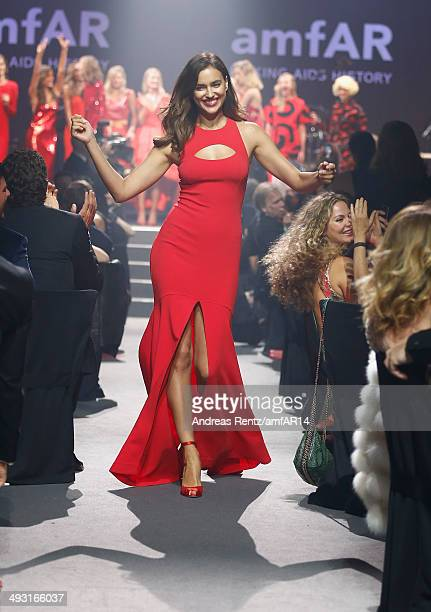 Irina Shayk walks the runway during amfAR's 21st Cinema Against AIDS Gala Presented By WORLDVIEW BOLD FILMS And BVLGARI at Hotel du CapEdenRoc on May...