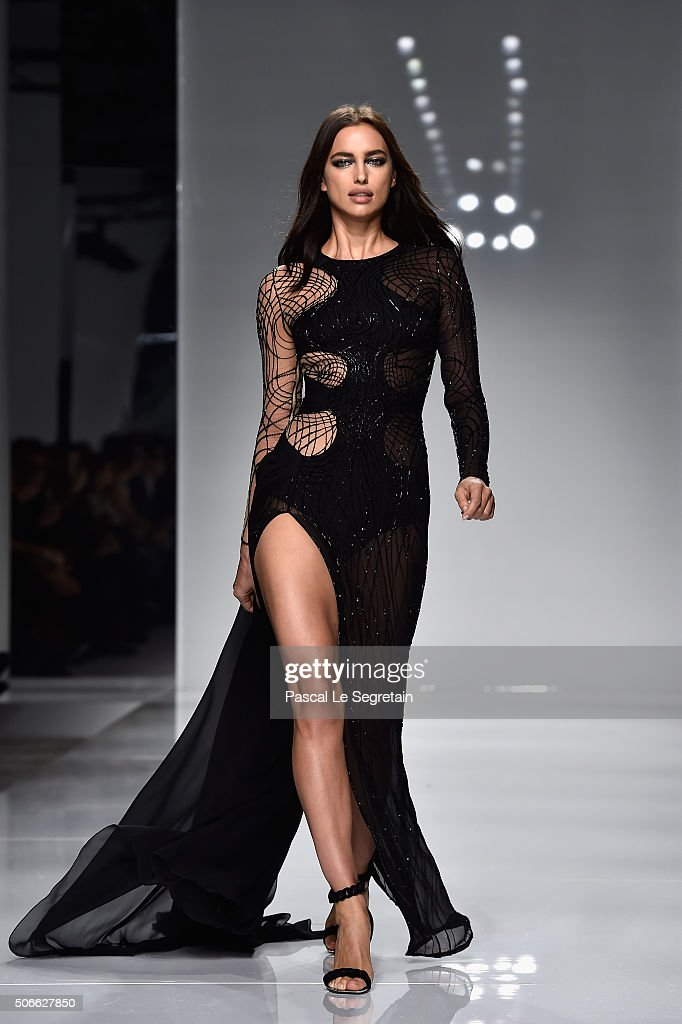 Irina Shayk walks the runway during the Versace Spring Summer 2016 show as part of Paris Fashion Week on January 24 2016 in Paris France