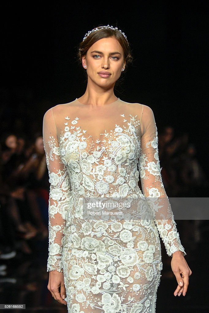 Irina Shayk walks the runway for the latest collection by Pronovias 2017 on April 29, 2016 in Barcelona, Spain.