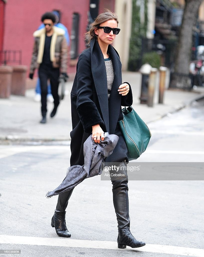 Irina Sheik is seen in the West Village on January 28, 2013 in New York City.
