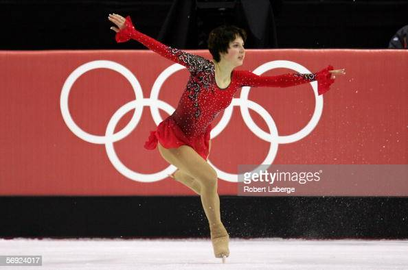 Irina Slutskaya of Russia performs during the women's Free Skating program of figure skating during Day 13 of the Turin 2006 Winter Olympic Games on...