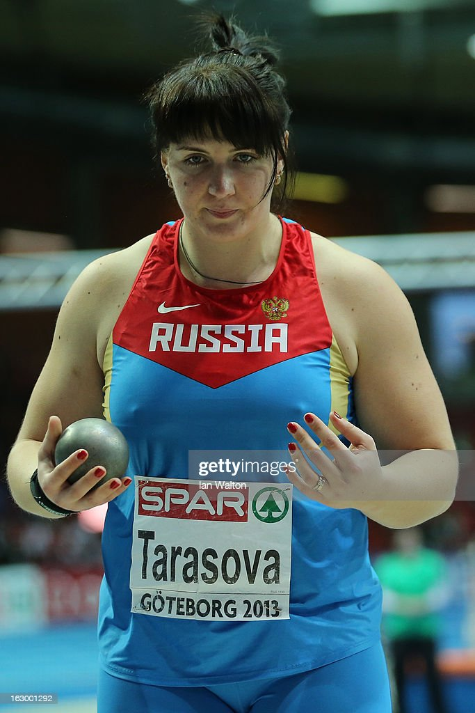 Irina Tarasova of Russia competes in the Women's Shot Put Final during day three of European Indoor Athletics at Scandinavium on March 3, 2013 in Gothenburg, Sweden.