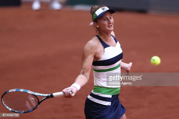 IrinaCamelia Begu of Romania in action against Basak Eraydin of Turkey during the TEB BNP Paribas Istanbul Cup women's tennis match at Garanti Koza...