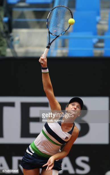 IrinaCamelia Begu of Romania in action against Elise Mertens of Belgium during their TEB BNP Paribas Istanbul Cup Women's tennis match at Garanti...