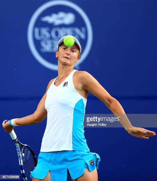 IrinaCamelia Begu of Romania plays a shot against Venus Williams of the United States during Day 3 of the Rogers Cup at Aviva Centre on August 7 2017...