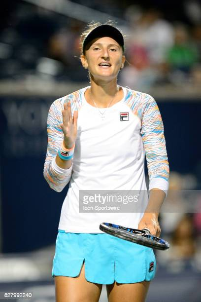 IrinaCamelia Begu of Romania reacts after losing a point during her first round match of the 2017 Rogers Cup tennis tournament on August 7 at Aviva...