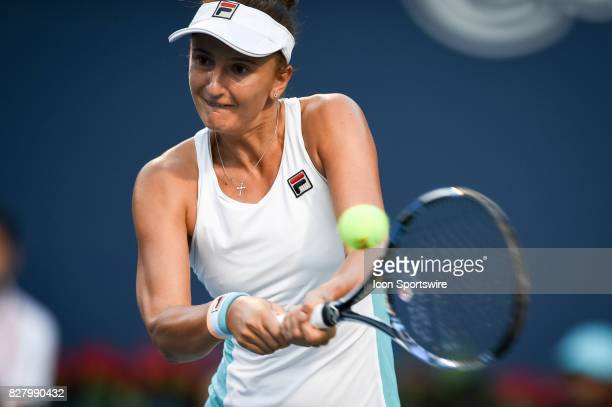 IrinaCamelia Begu of Romania returns the ball during her first round match of the 2017 Rogers Cup tennis tournament on August 7 at Aviva Centre in...