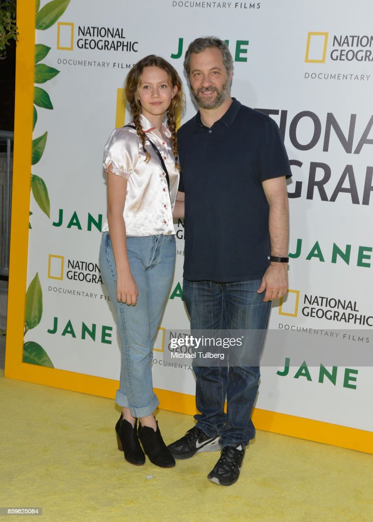 Iris Apatow and Judd Apatow attend the premiere of National Geographic Documentary Films' 'Jane' at the Hollywood Bowl on October 9, 2017 in Hollywood, California.