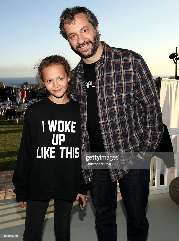 Iris Apatow and producer Judd Apatow attend Rock4EB, Malibu, with Jackson Browne & David Spade sponsored by Suja Juice & Sabra Hummus at Private Residence on September 28, 2014 in Malibu, California.