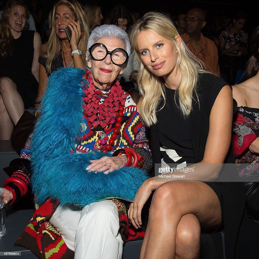 Iris Apfel and model Karolina Kurkova attend the Desigual fashion show during Spring 2016 New York Fashion Week at The Arc Skylight at Moynihan...