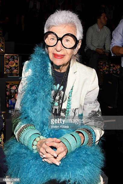 Iris Apfel attends Anna Sui Spring 2016 during New York Fashion Week The Shows at The Arc Skylight at Moynihan Station on September 16 2015 in New...