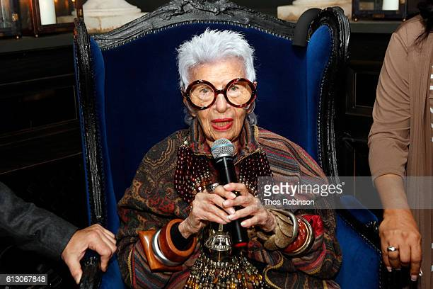 Iris Apfel attends Iris Apfel x Happy Socks Launch at Gramercy Park Hotel on October 6 2016 in New York City
