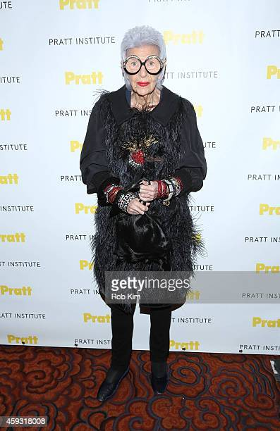 Iris Apfel attends the 2014 Pratt Institute Gala at Mandarin Oriental Hotel on November 20 2014 in New York City