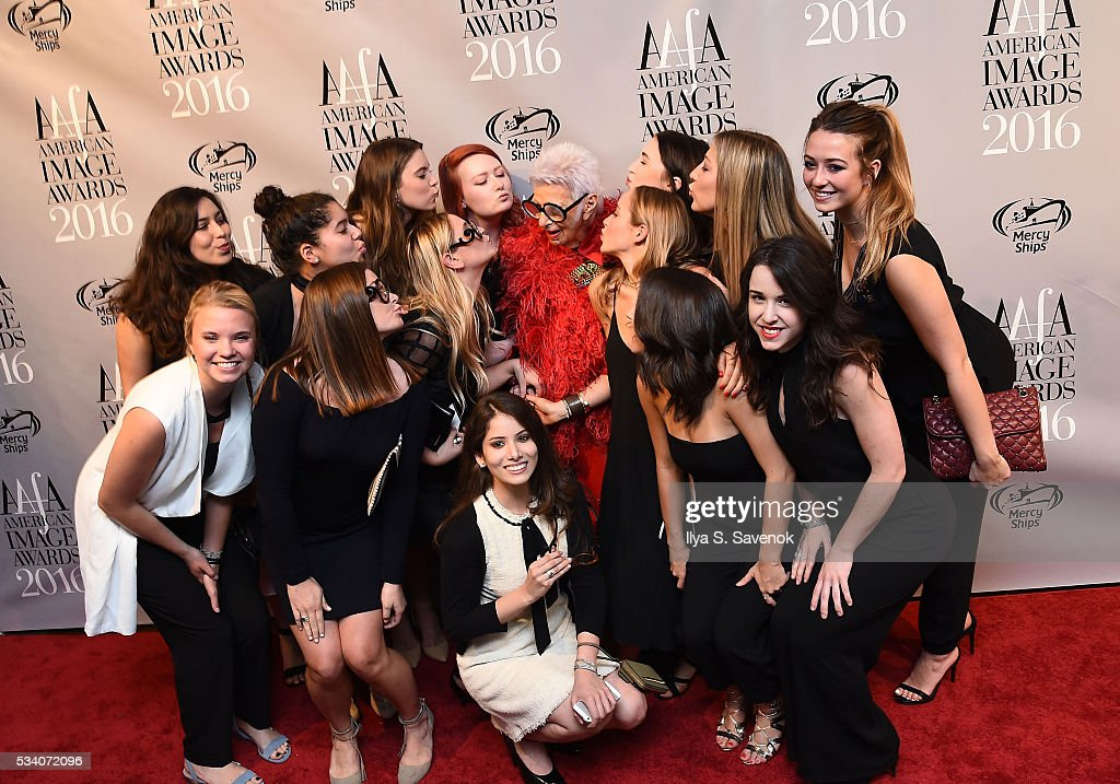 <a gi-track='captionPersonalityLinkClicked' href=/galleries/search?phrase=Iris+Apfel&family=editorial&specificpeople=612628 ng-click='$event.stopPropagation()'>Iris Apfel</a> (C) attends the American Apparel & Footwear Association's 38th Annual American Image Awards 2016 on May 24, 2016 in New York City. (Photo by Ilya S. Savenok/Getty Images for American Apparel & Footwear Association (AAFA))