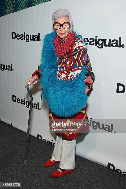 Iris Apfel attends the Desigual fashion show during Spring 2016 New York Fashion Week at The Arc Skylight at Moynihan Station on September 10 2015 in...