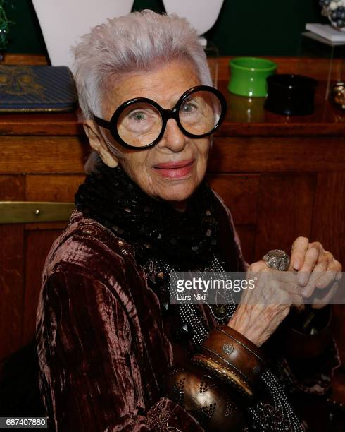 Iris Apfel attends the Iris Apfel Dinner previewing her HSN Collection at The Polo Bar on April 11 2017 in New York City