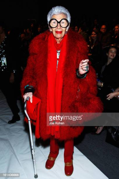 Iris Apfel attends the Joanna Mastroianni Fall 2013 fashion show during MercedesBenz Fashion Week at The Studio at Lincoln Center on February 10 2013...