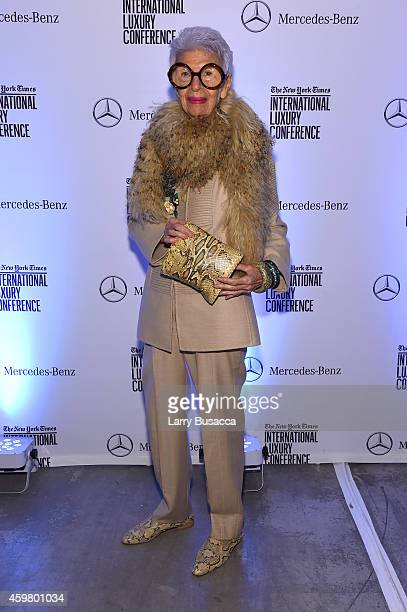 Iris Apfel attends the Speaker Dinner presented by MercedesBenz during The New York Times International Luxury Conference at the Moore Building on...