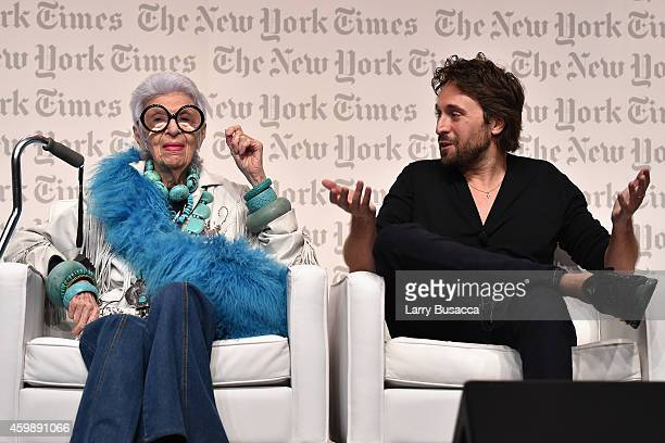 Iris Apfel Design Entrepreneur and artist Francesco Vezzoli speak onstage at the The New York Times International Luxury Conference at Mandarin...