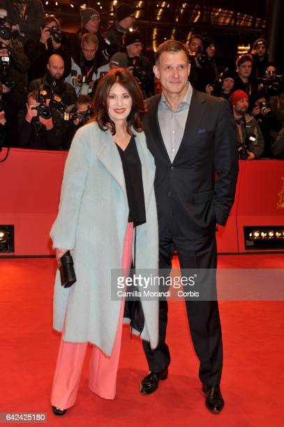 Iris Berben and Heiko Kiesow attend the 'Logan' premiere during the 67th Berlinale International Film Festival Berlin at Berlinale Palace on February...
