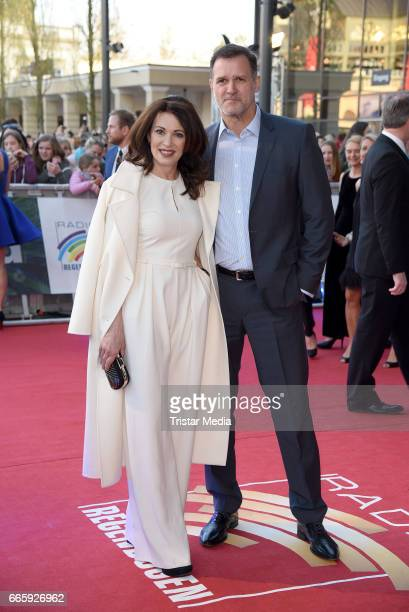 Iris Berben and her boyfriend Heiko Kiesow attend the Radio Regenbogen Award 2017 at EuropaPark on April 7 2017 in Rust Germany