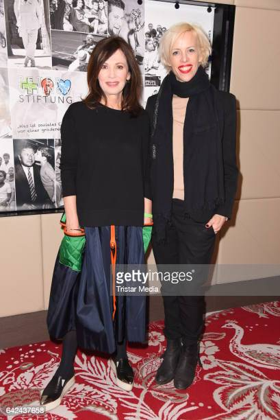 Iris Berben and Katja Eichinger attend the Green Carpet Lounge of Peter Ustinov foundation during the 67th Berlinale International Film Festival on...