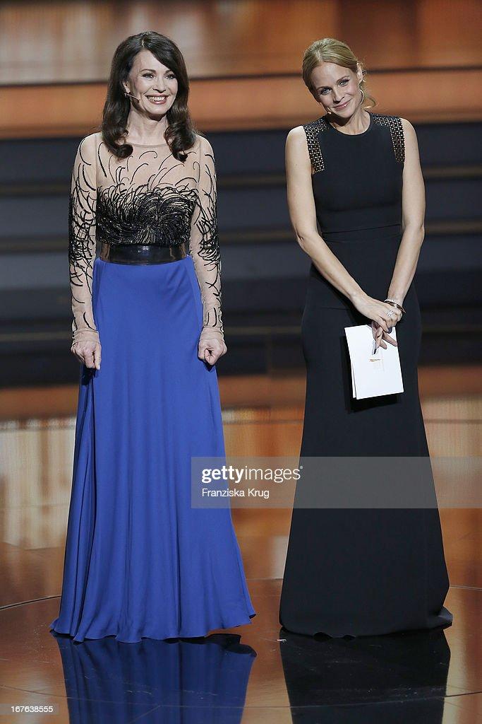 Iris Berben and Mirjam Weichselbraun attend at the Lola German Film Award 2013 at Friedrichstadt-Palast on April 26, 2013 in Berlin, Germany.