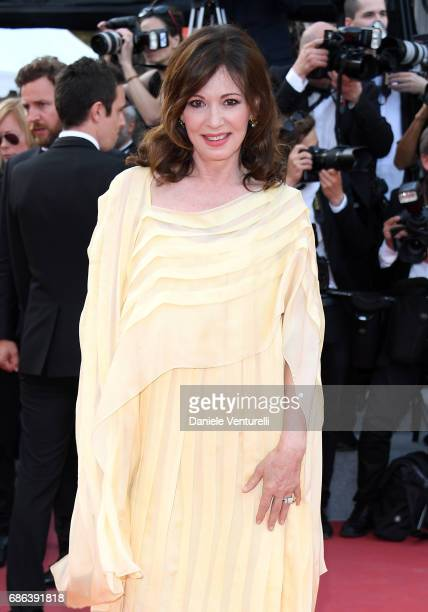 Iris Berben attends the 'The Meyerowitz Stories' screening during the 70th annual Cannes Film Festival at Palais des Festivals on May 21 2017 in...