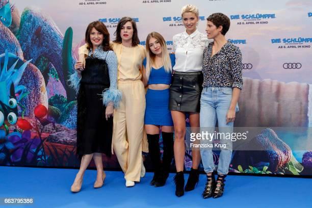 Iris Berben Nora Tschirner Bianca Heinicke Lena Gercke and Jasmin Gerat attend 'Die Schluempfe Das verlorene Dorf' Berlin Premiere at Sony Centre on...