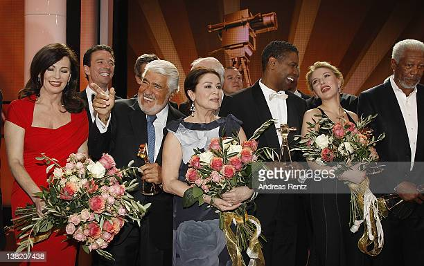 Iris Berben Oliver Berben Mario Adorf Hannelore Elsner Denzel Washington Scarlett Johansson and Morgan Freeman pose for a final picture at the 47th...