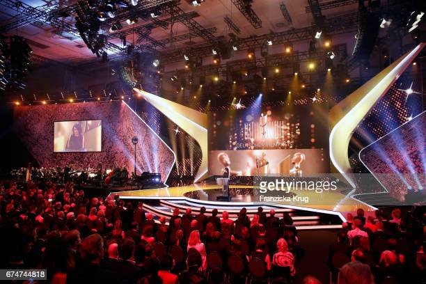 Iris Berben President of the Deutsche Filmakademie making her opening speech at the Lola German Film Award show at Messe Berlin on April 28 2017 in...