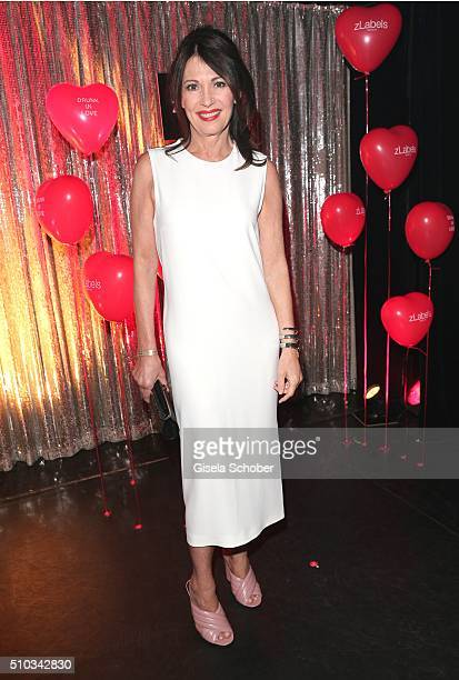 Iris Berben wearing a dress by Kiomi during the 'Drunk In Love' Party hosted by Constantin Film and zLabels on February 14 2016 in Berlin Germany