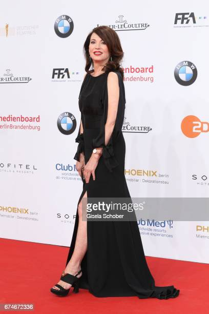 Iris Berben wearing a watch by JaegerLeCoultre during the Lola German Film Award red carpet arrivals at Messe Berlin on April 28 2017 in Berlin...