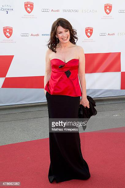 Iris Berben wears an ESCADA dress during the Fete Imperiale summer ball on June 26 2015 in Vienna Austria