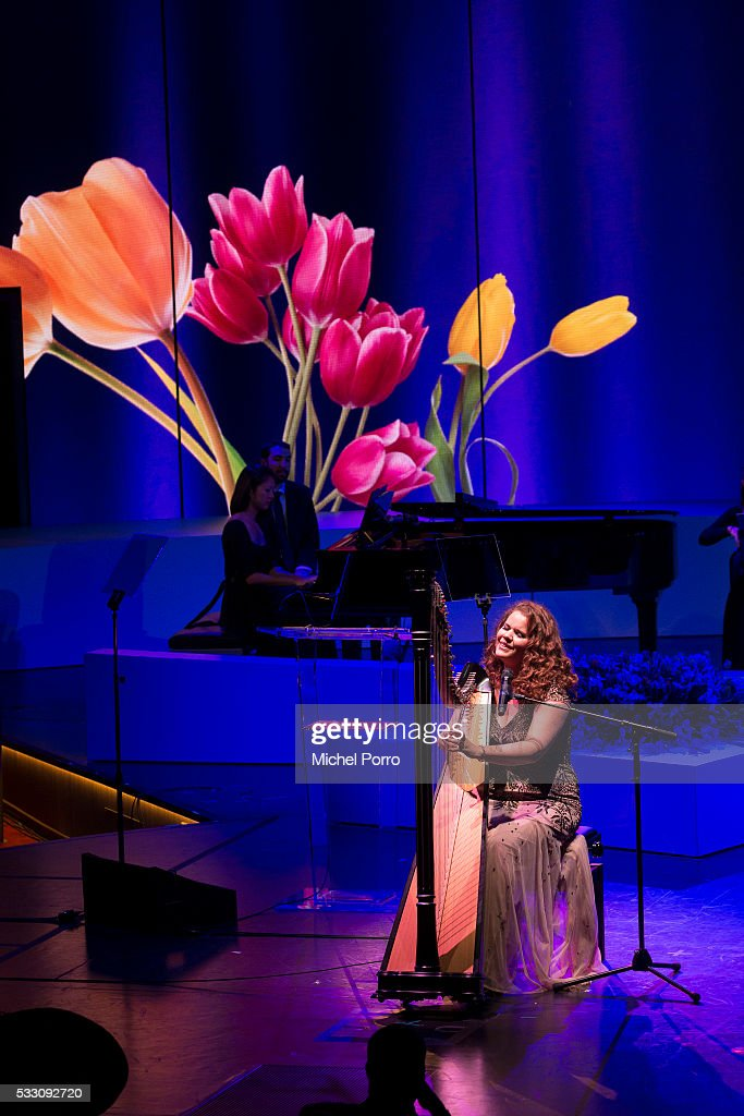 Iris Kroes performs before Queen Maxima of The Netherlands baptizes the cruise ship MS Koningsdam on May 20 2016 in Rotterdam Netherlands.