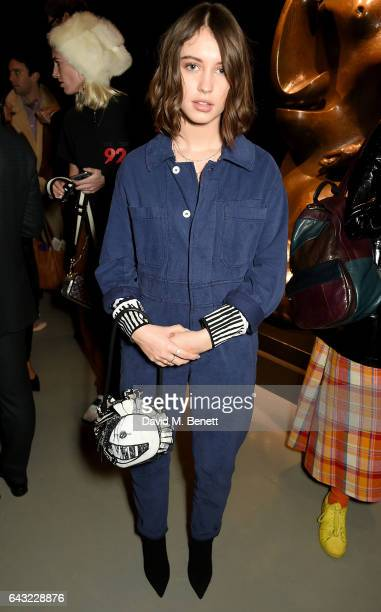 Iris Law wearing Burberry attends the Burberry February 2017 Show during London Fashion Week February 2017 at Makers House on February 20 2017 in...