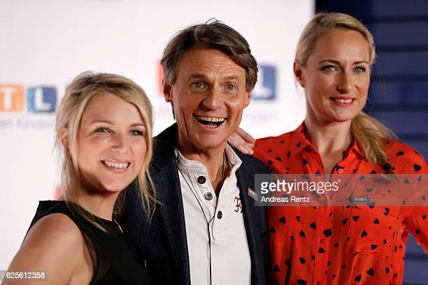 Iris Mareike Steen Wolfgang Bahro and Eva Mona Rodekirchen are seen in the studio of the RTL Telethon TV show on November 24 2016 in Cologne Germany...
