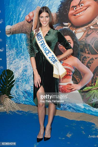 Iris Mittenaere Miss France 2016 attends the 'Vaiana Le Legende Du Bout Du Monde' Paris Premiere at Le Grand Rex on November 16 2016 in Paris France