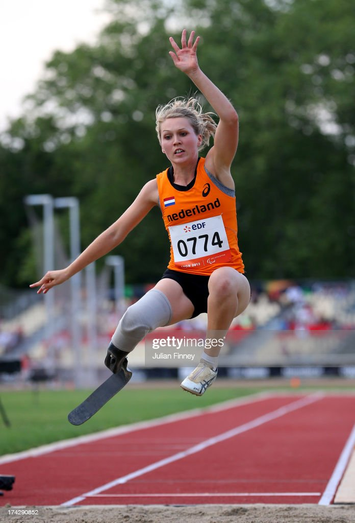 Iris Pruysen of Netherlands in action in the Women's Long Jump T44 during day four of the IPC Athletics World Championships on July 23, 2013 in Lyon, France.