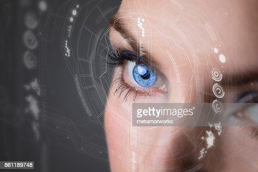 Iris recognition concept Smart contact lens. Mixed media. : Stock Photo