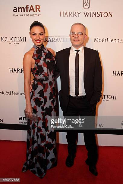 Iris Valverde and Giovani Bianco attend the 5th Annual amfAR Inspiration Gala at the home of Dinho Diniz on April 10 2015 in Sao Paulo Brazil