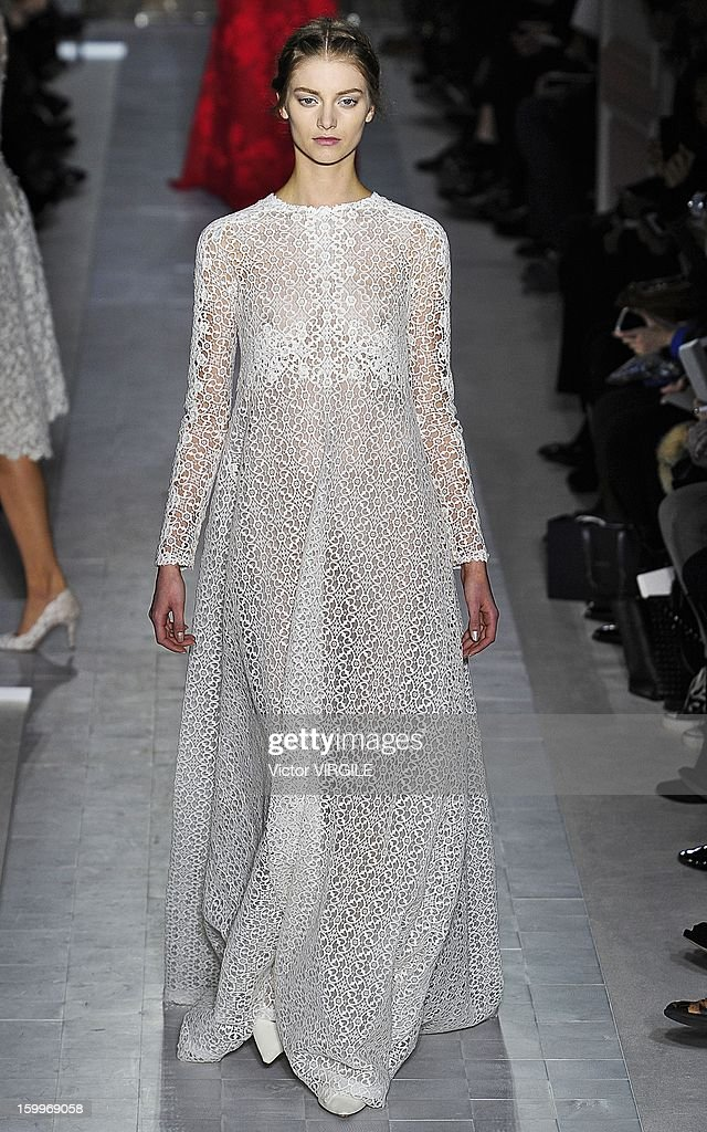 Iris van Berne walks the runway during the Valentino Spring/Summer 2013 Haute-Couture show as part of Paris Fashion Week at Hotel Salomon de Rothschild on January 23, 2013 in Paris, France.