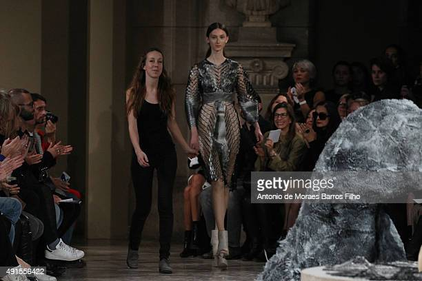 Iris Van Herpen walks the runway during the Iris Van Herpen show as part of the Paris Fashion Week Womenswear Spring/Summer 2016 on October 6 2015 in...