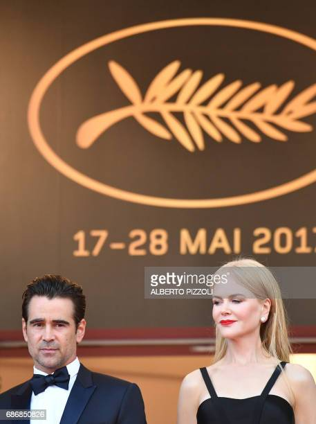 Irish actor Colin Farrell and Australian actress Nicole Kidman pose as they arrive on May 22 2017 for the screening of the film 'The Killing of a...