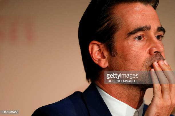Irish actor Colin Farrell poses on May 24 2017 during a press conference for the film 'The Beguiled' at the 70th edition of the Cannes Film Festival...